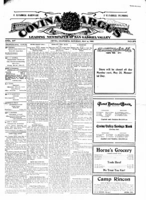 Covina Argus from Covina, California on May 29, 1909 · Page 1