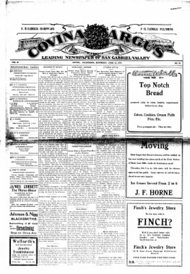 Covina Argus from Covina, California on June 26, 1909 · Page 1
