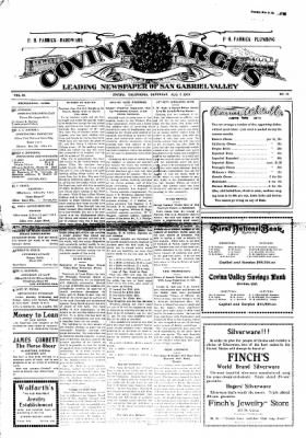 Covina Argus from Covina, California on August 7, 1909 · Page 1