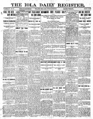 Iola Daily Register And Evening News from Iola, Kansas on December 1, 1911 · Page 1