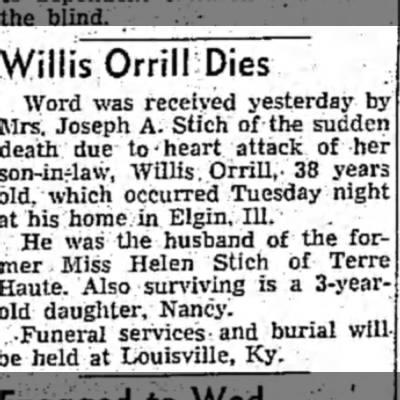 George Willis Orrill dies -