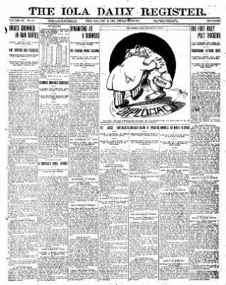 Iola Daily Register And Evening News from Iola, Kansas on December 15, 1911 · Page 1