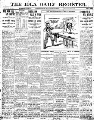 Iola Daily Register And Evening News from Iola, Kansas on December 26, 1911 · Page 1