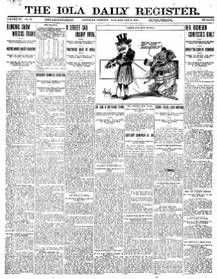Iola Daily Register And Evening News from Iola, Kansas on January 6, 1912 · Page 1