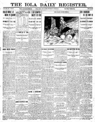 Iola Daily Register And Evening News from Iola, Kansas on January 9, 1912 · Page 1