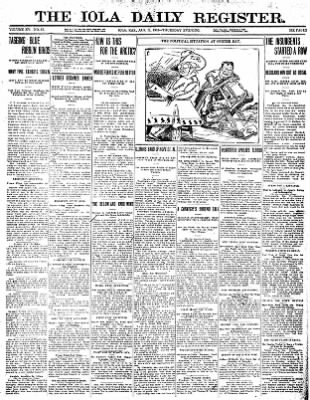 Iola Daily Register And Evening News from Iola, Kansas on January 11, 1912 · Page 1