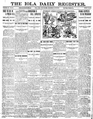 Iola Daily Register And Evening News from Iola, Kansas on January 25, 1912 · Page 1