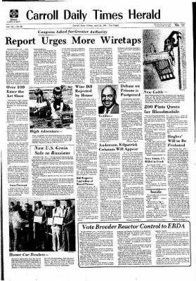 Carrol Daily Times Herald from Carroll, Iowa on April 30, 1976 · Page 1