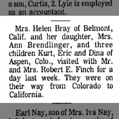 1970 Helen, Marsha and Kids Visit Finchs - Mrs. Helen Bray of Belinont, Calif, and her...