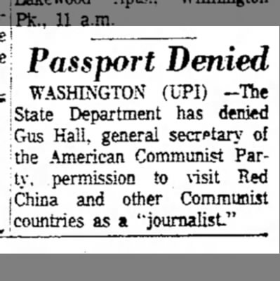 July 1966, Passport -