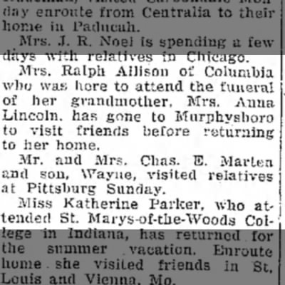 Anna Lincoln diesMary Allison attends funeralDaily IndependentMboro14 June 1927, p 2 - Mrs. Ralph Allison of Columbia who was here to...