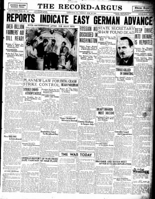 The Record-Argus from Greenville, Pennsylvania on June 24, 1941 · Page 1