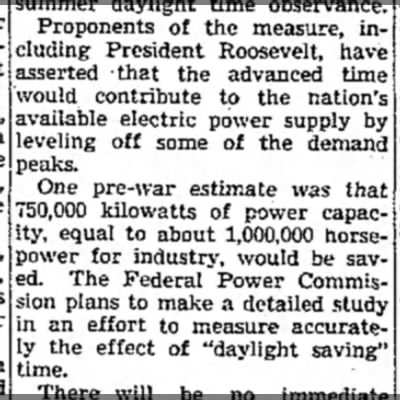 """War Time"" implemented as an energy-saving measure - Proponents of the measure, including including..."