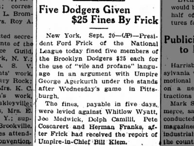 "Clip of the Day: Five Brooklyn Dodger Players Fined for Using ""Vile and Profane"" Language"