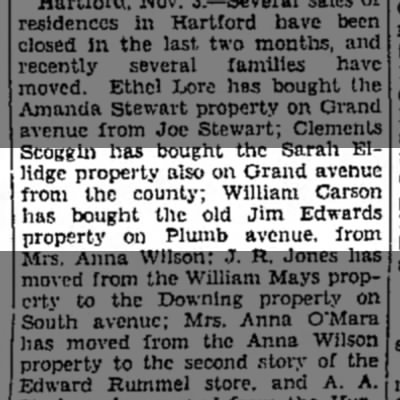 William carson bought property find out if it is same carson    emporia kansas -