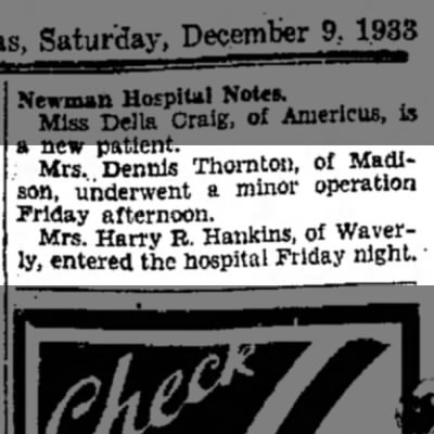 Mrs Dennis (Lettie) Thornton - minor operation
