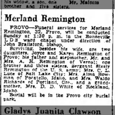 1943 Merland Remington OBIT  -