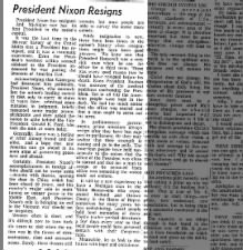 Michigan newspaper's editorial following resignation of President Richard Nixon