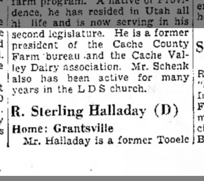 Robert Sterling Halladay 1943 - 2 - second legislature. He is a former president of...