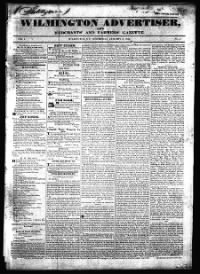 Sample Wilmington Advertiser and Merchants' and Farmers' Gazette front page