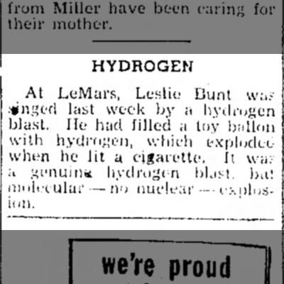 Bunt - HYDROGEN At LeMars, Leslie Bunt way •linSt'fl...