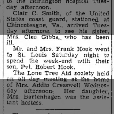 1943 Wapello Muscatine News Journal 11.11.1943 -