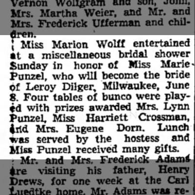 Punzel-Dilger, Marie bridal shower 