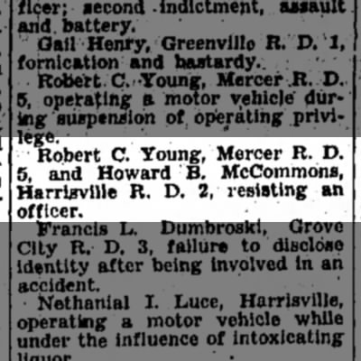 Howard B. McCommons arrest for resisting officer