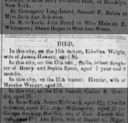 Harriet Werner, First Wife of Maurice Werner, Died 10 July 1852 - Death Notice