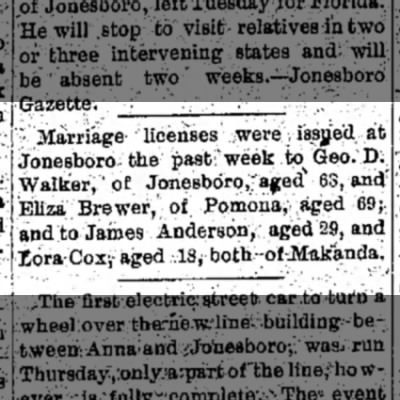 Eliza Brewer and George D Walker Marriage License