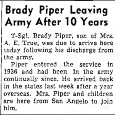 piper leave army Big Spring Daily Herald Big Spring, Texas