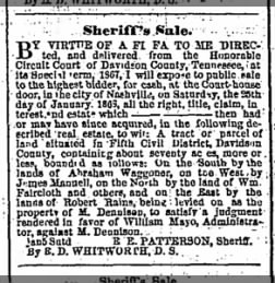 The Tennessean from Nashville, Tennessee on January 14, 1868