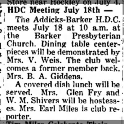 July meeting Edna Giddens - of, HDC Meetin * Jul y 18th ~ i The...