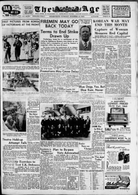 The Age from Melbourne, Victoria, Australia on October 10, 1950 · Page 1