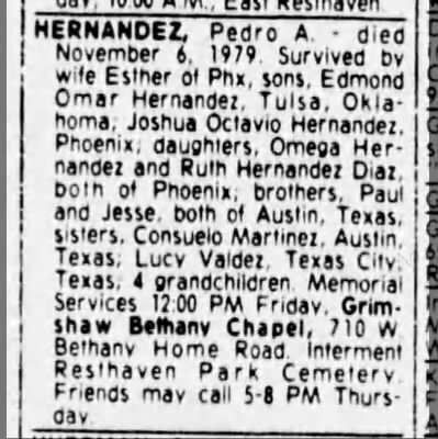 Rev Pedro Death Notice - 7 November 1979 in Arizona Republic (Phoenix) -