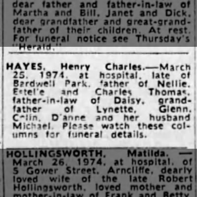 Henry Charles Hayes - Death Notice SMH Wednesday 27th March 1974 - HAYES. Henry Charles. March 25. 1971. at...