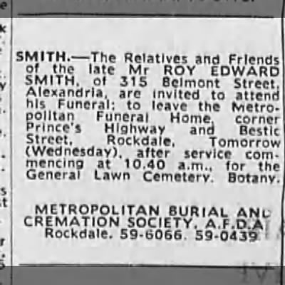 Funeral Roy Edward SMITH 1969 - SMITH. The Relatives and Friends SMITH, of 315...