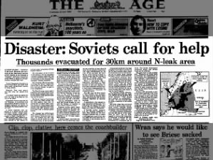 Australian newspaper coverage from the early days of the Chernobyl disaster