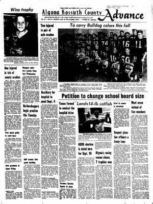 Kossuth County Advance from Algona, Iowa on August 28, 1967 · Page 1