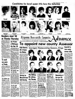 Kossuth County Advance from Algona, Iowa on October 2, 1967 · Page 1