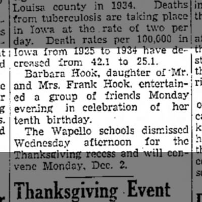 1935 Barbara's 10th The Muscatine News Tribune 11.28.1935 - creas»d from 42.1 to 25.1. Barbara Hook,...