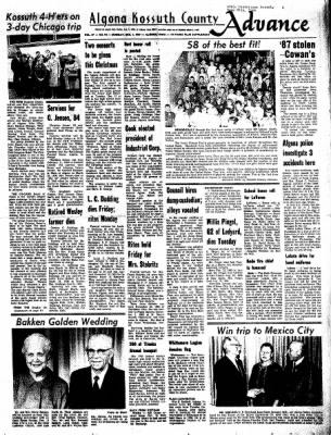 Kossuth County Advance from Algona, Iowa on December 4, 1967 · Page 1