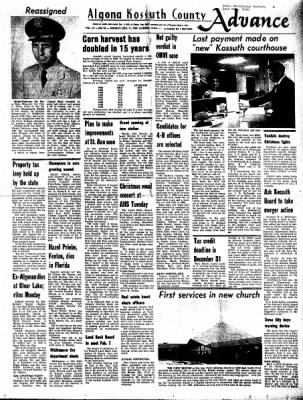 Kossuth County Advance from Algona, Iowa on December 11, 1967 · Page 1