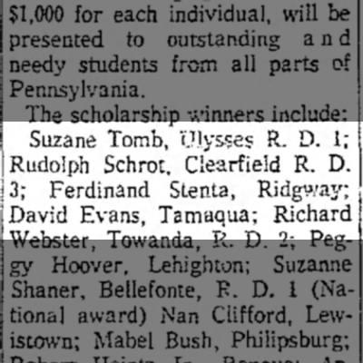 Ferd Stenta wins Elk Scholarship - Suzane Tomb, Ulysses R. D. 1; Rudolph Schrot,...
