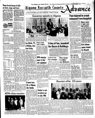 Kossuth County Advance from Algona, Iowa on June 16, 1966 · Page 1