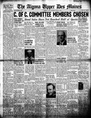 The Algona Upper Des Moines from Algona, Iowa on May 31, 1945 · Page 1