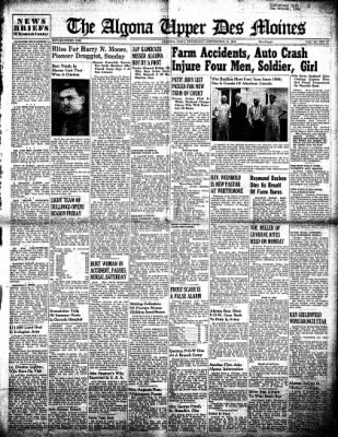 The Algona Upper Des Moines from Algona, Iowa on September 13, 1945 · Page 1