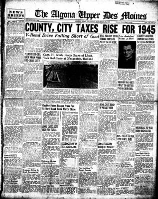 The Algona Upper Des Moines from Algona, Iowa on November 15, 1945 · Page 1
