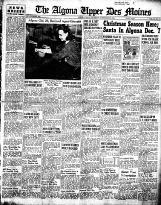 The Algona Upper Des Moines from Algona, Iowa on November 29, 1945 · Page 1