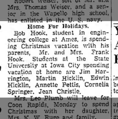 1942 Wapello Muscatine News Journal 12.21.1942 -